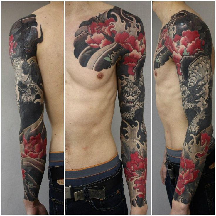 Black demon japanese sleeve tattoo tattoo ideas for Japanese sleeve tattoos meanings