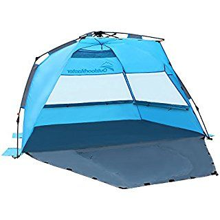 Outdoormaster Pop Up Beach Tent Easy To Set Portable Shade With Spf 50 Uv Protection For Kids Family Blue L