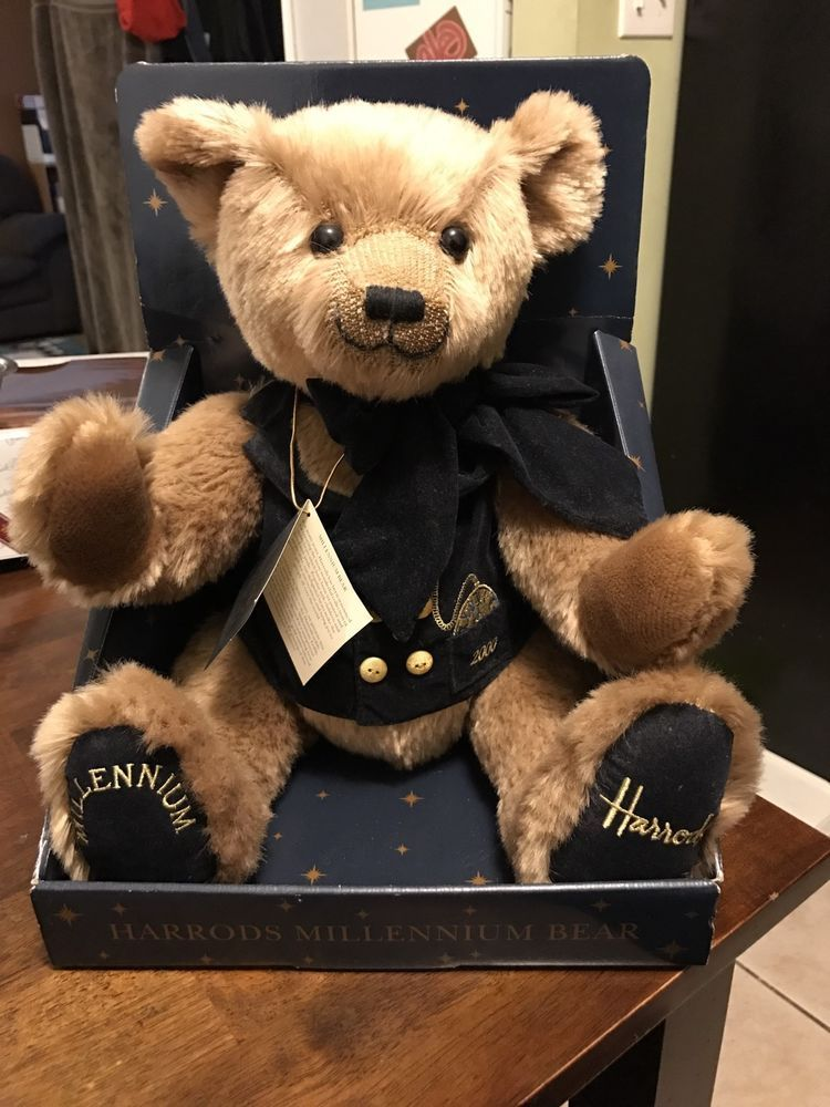 $35 (18) HARRODS Knightsbridge Plush 2000 Millennium Holiday Teddy BEAR In  Box From England