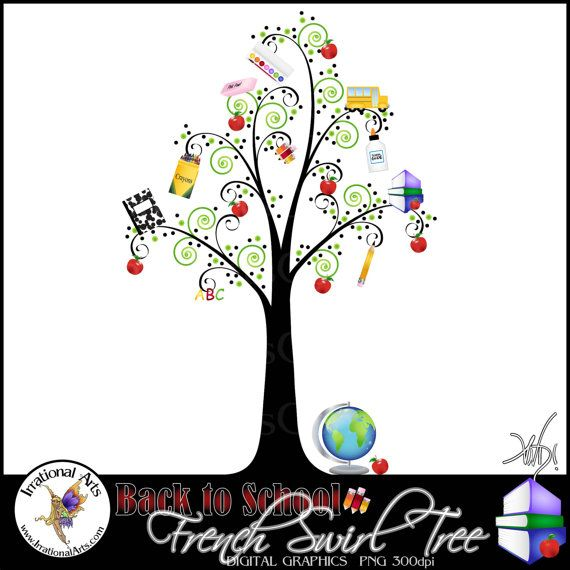 INSTANT DOWNLOAD Back to School French Swirl Tree  a gorgeous swirly tree with school supplies perfect for teacher