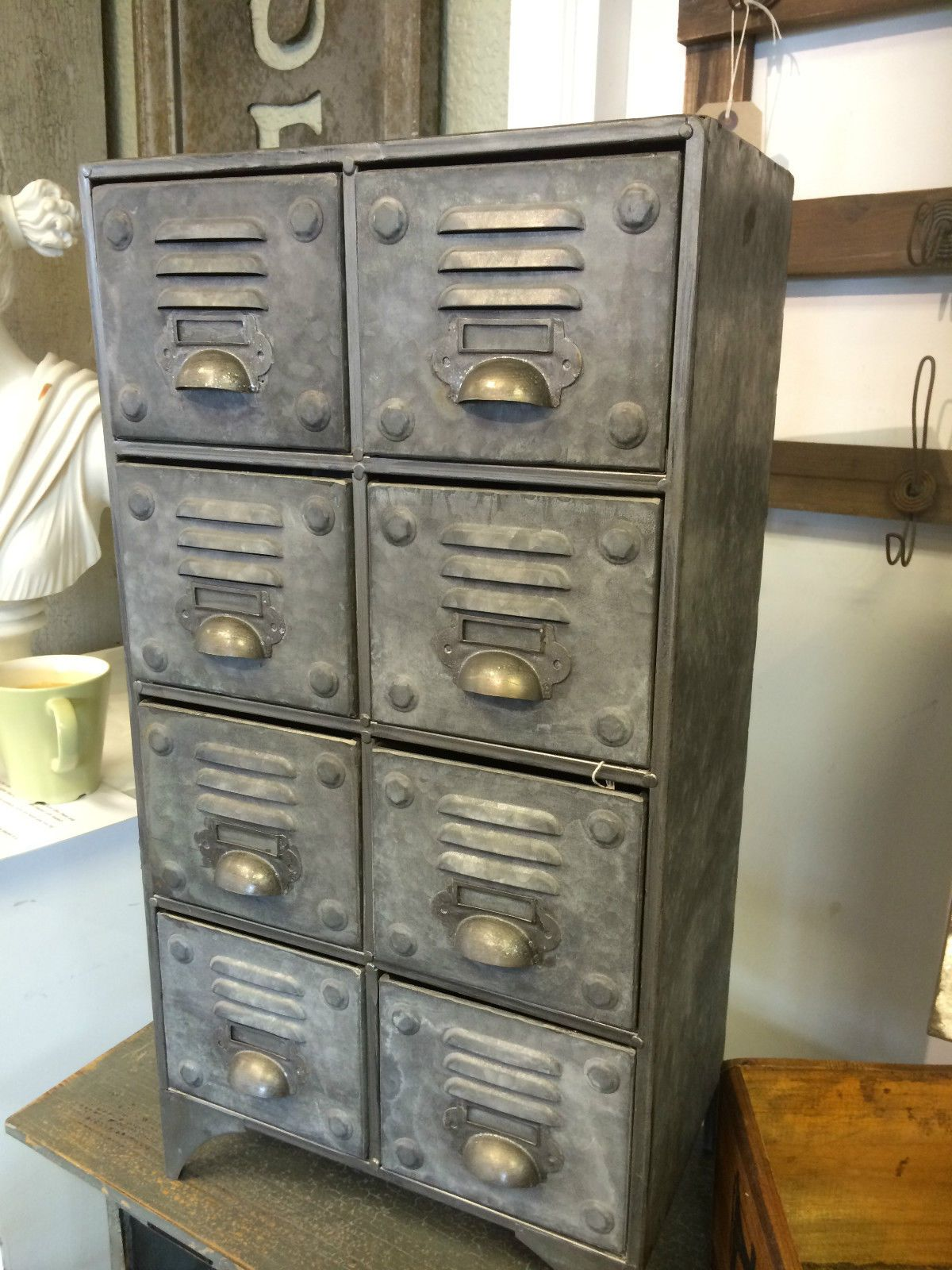 Small Bank Of 8 Industrial Draws Vintage 8 Drawer Metal Storage Cabinet  Cupboard
