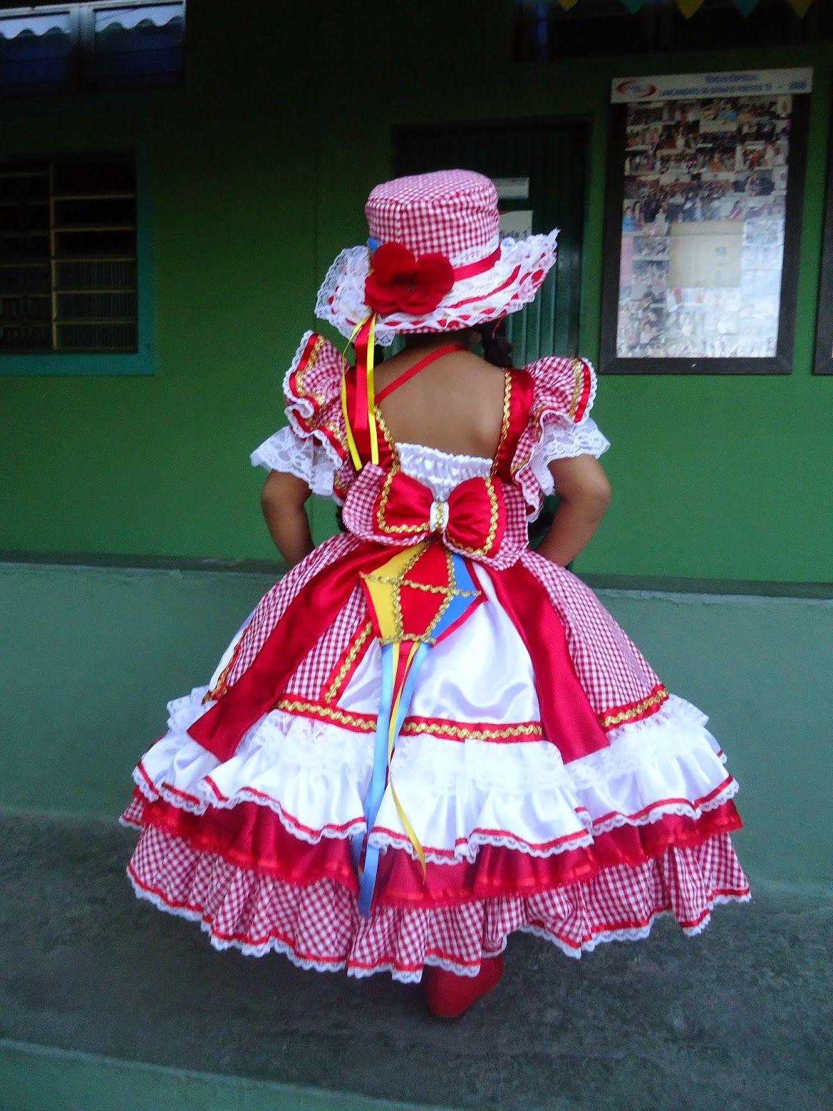 vestido de quadrilha infantil vermelho e branco d48cc041061