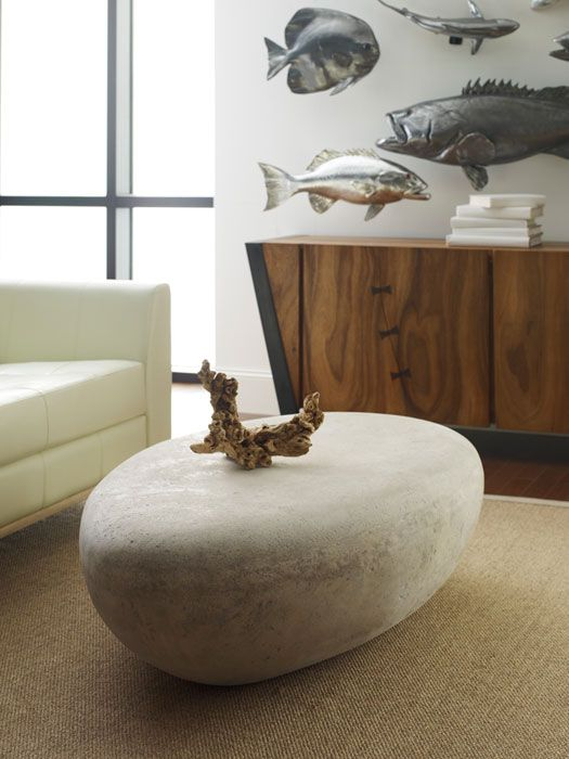 phillips collection - river stone cocktail table, roman stone, lg