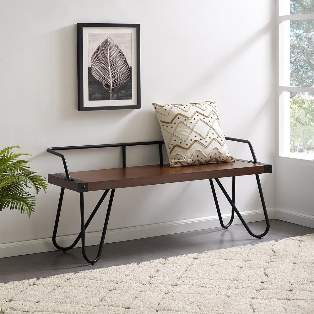 Remarkable Southern Enterprises Gertie Dark Tobacco Entryway Bench Pabps2019 Chair Design Images Pabps2019Com