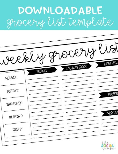 Living Your Best Life + Free Grocery List Template (Lovely Little - grocery templates free