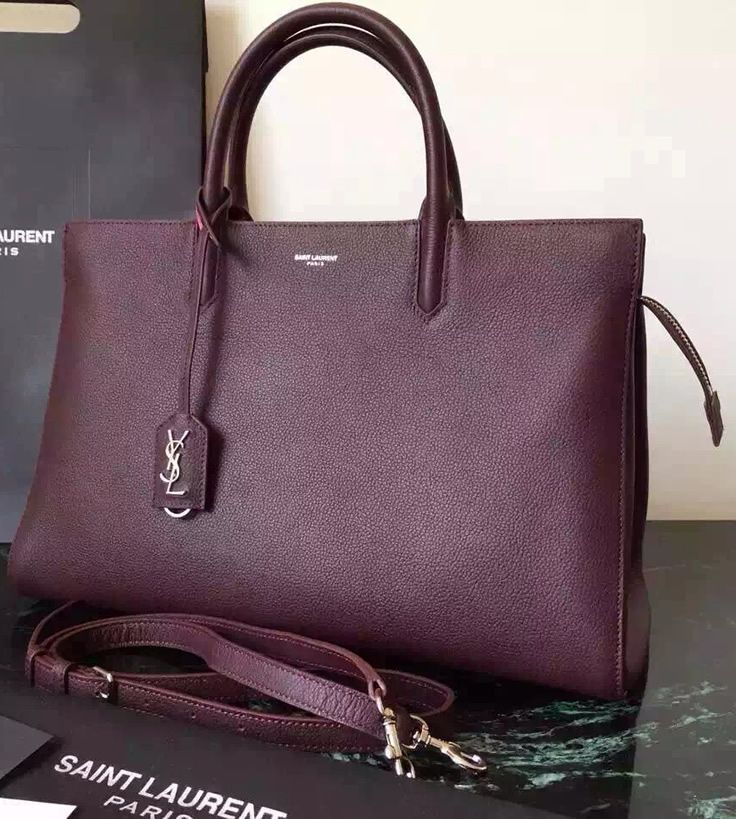Saint Laurent Medium Cabas RIVE GAUCHE Bag in Wine Red Grained Leather sale at bargain rate- USD 422. Free Shipping by courier to your address.  Visit website http://www.luxtime.su/ysl-bags
