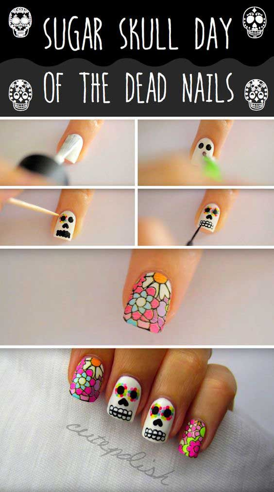 Easy Halloween Nail Art Tutorials 2019 Step By Step Halloween Nails Easy Skull Nails Sugar Skull Nails