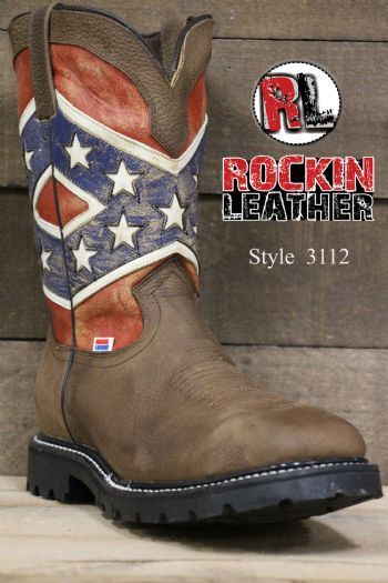 dc61f87a0b2 3112 - RockinLeather Mens Confederate Flag Steel Toe Work Boot ...