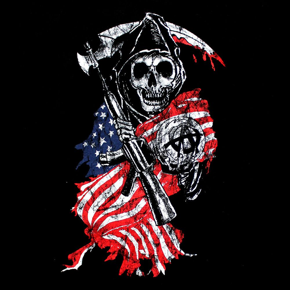 BikerOrNot Store - Sons of Anarchy - Reaper Flag Hoodie ... Sons Of Anarchy Reaper