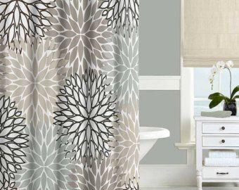 Gray Shower Curtain Black Blue Beige Modern