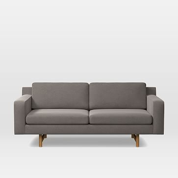 "Eddy 82"" Sofa, Worn Velvet, Metal, Almond"