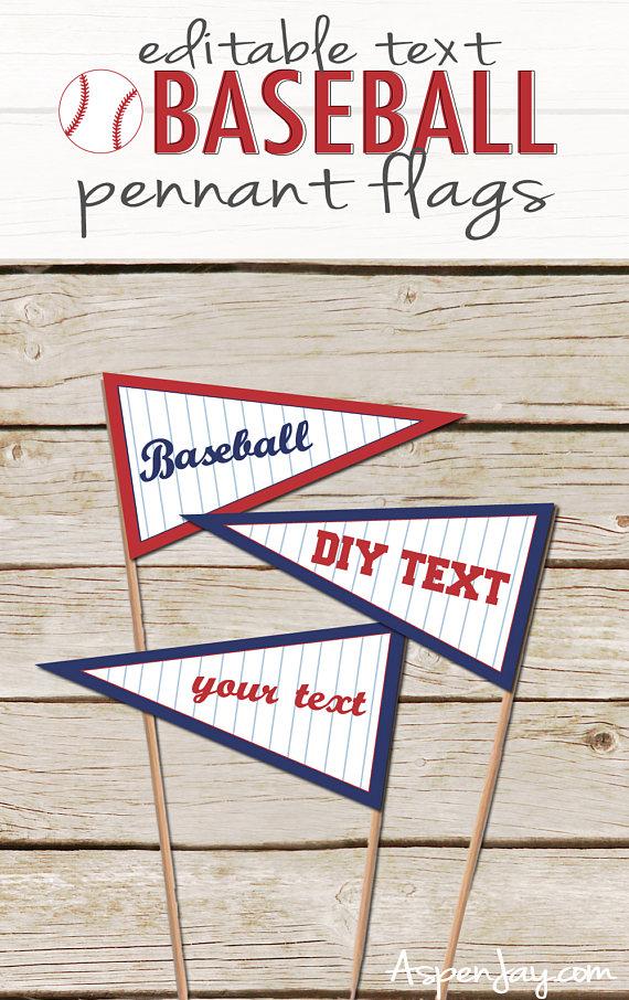 Photo of Baseball Pennant Flags – DIY Editable text – Printable Download – Baseball Food Labels – Baseball Baby Shower Flags – Baseball Decorations