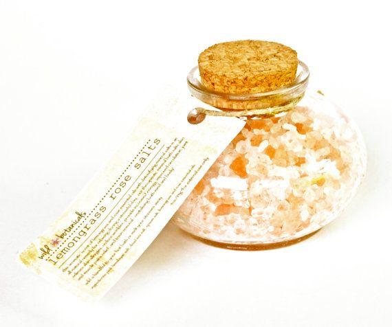 Lemongrass Rose Bath Salt, All Natural Aromatherapy, 4 oz Jar, Pink Himalayan, Dead Sea Salt, Epsom Salt, Detox