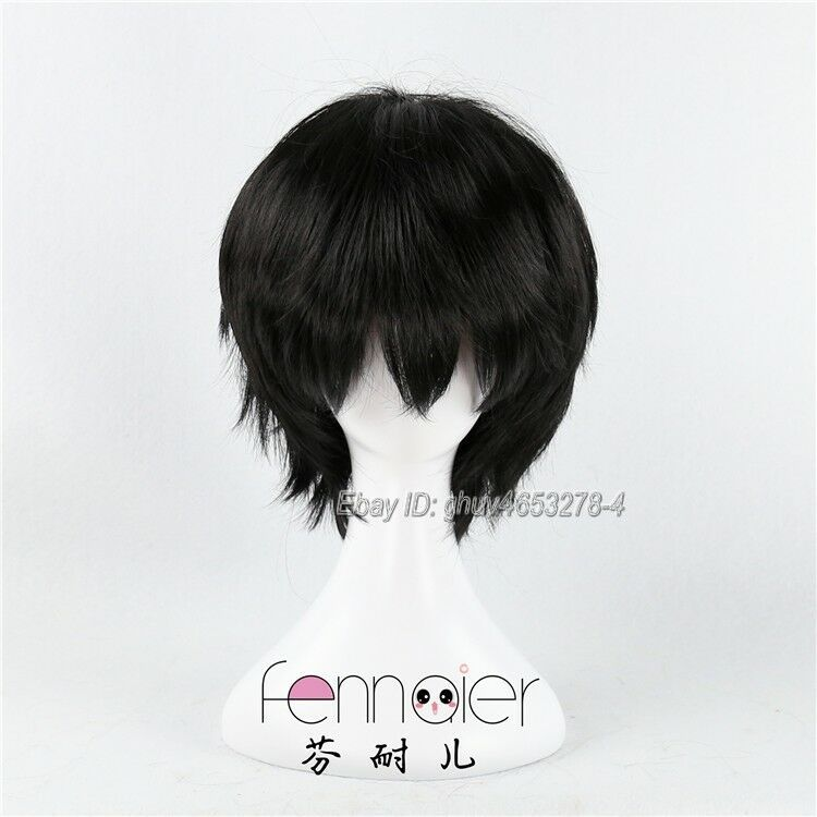 30cm Short Black Straight Cosplay Wig Unisex Synthetic Costume Party Hair Wigs Black Straight Cosplay Party Hairstyles Black And Blonde Cosplay Wigs
