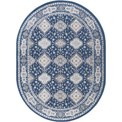 Darby Home Co Dolphus Oriental Scatter Navy Area Rug Rug Size Oval 5 X 8 Oval Area Rug Tayse Rugs Area Rugs