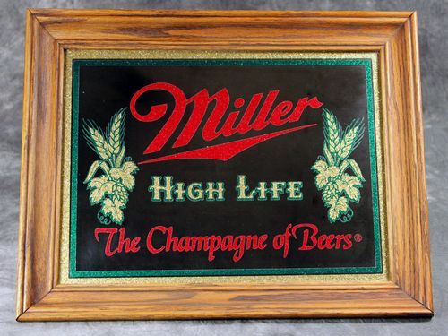 Awesome Vintage Miller High Life The Champagne Of Beers Sign Bar Mirror Man Cave