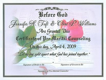 Premarital Certificate of Completion Template - Bing images - sample marriage certificate