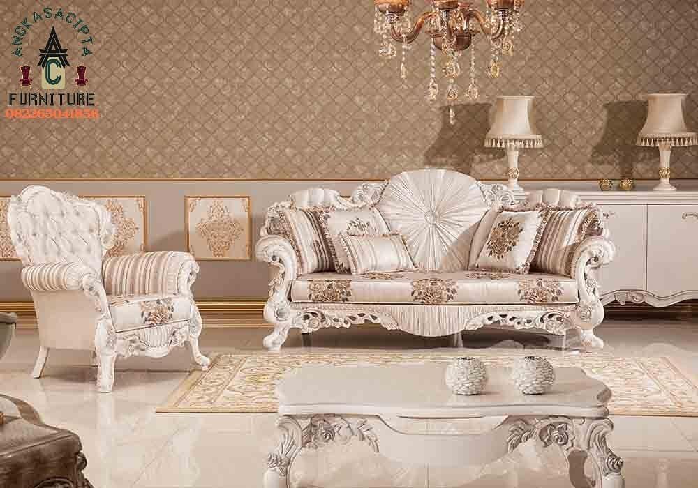 Living Room Sofa Emirat Marble White Kts35 Material Kayu Jati Pilihan Finishing White Marble Emirat Jok Cousion Beludru Cus Mebel Rumah Mewah Interior Rumah