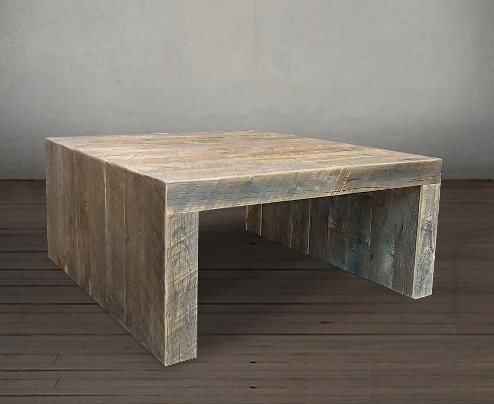 - Reclaimed Wood Solid Wood Square Coffee Table Holz