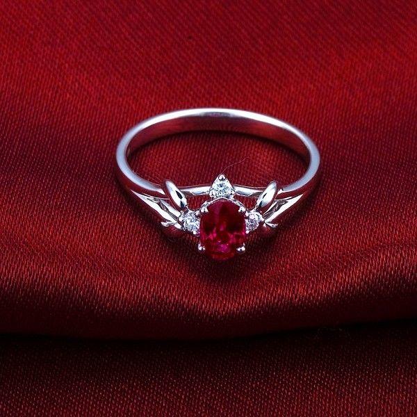 ruby diamond engagement rings | Home > Gemstone Rings > Ruby and Diamond Engagement Ring on 18ct White ...
