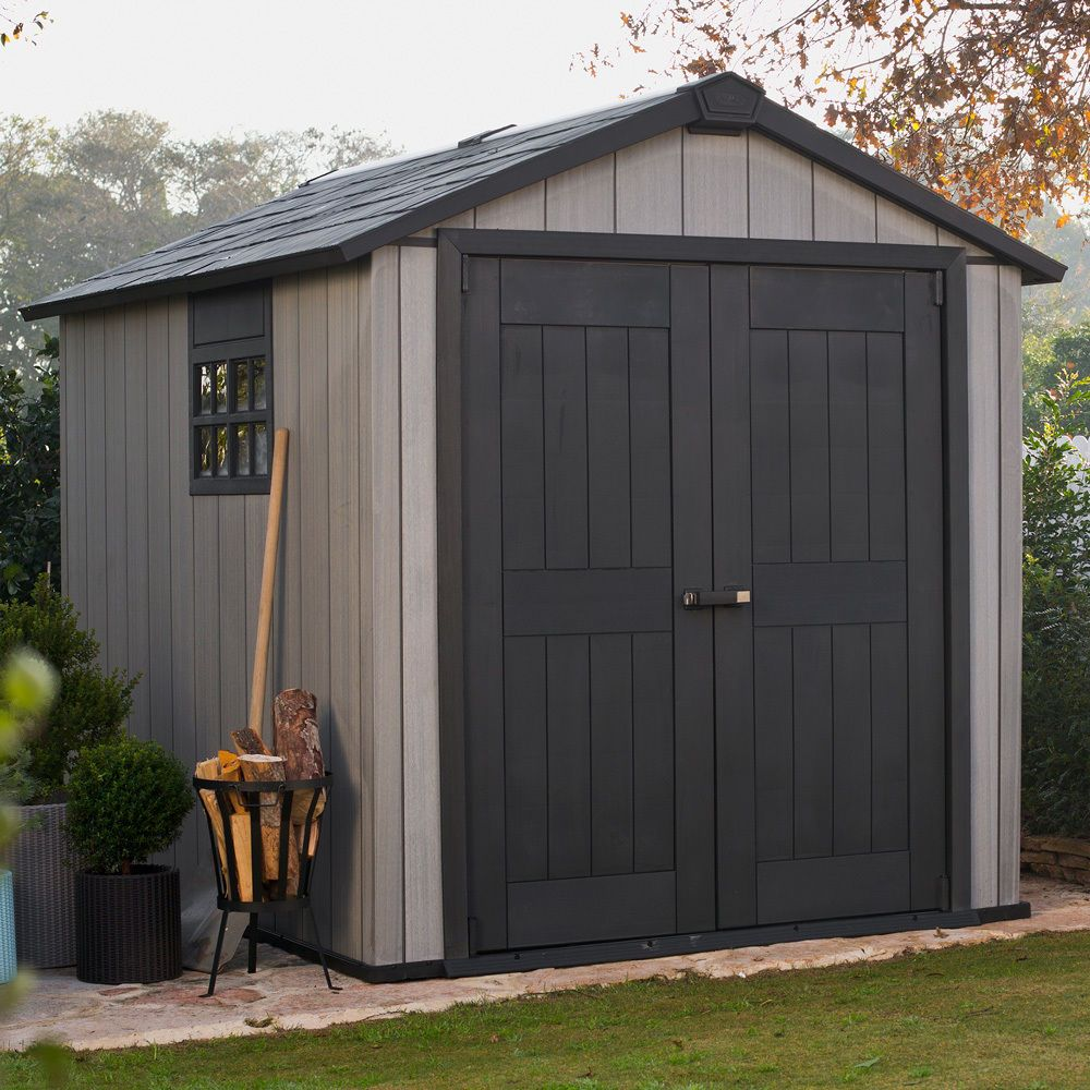 garden shed steel patio chic outdoor storage cabin plastic home shelter lodge ebay sales