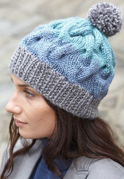 Free Knitting Pattern Hats Striped Cable Hat Yarn