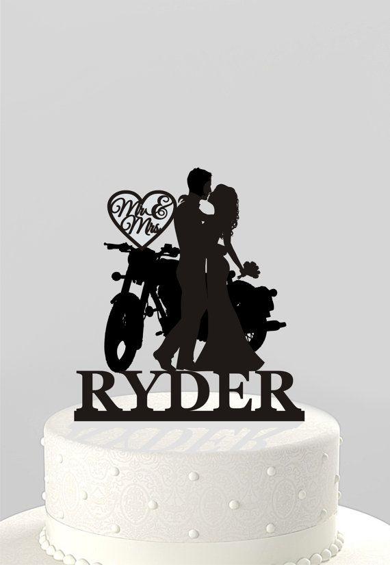 Hochzeitstorte Topper Silhouette Zu Zweit Am Motorrad Herr Hochzeit