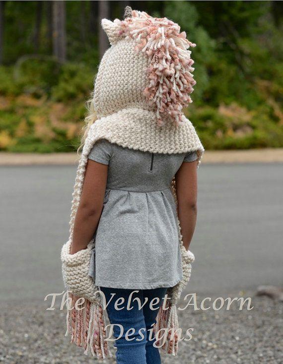 Knit Unicorn Hat Pattern : Knitting pattern the unice unicorn hooded scarf by