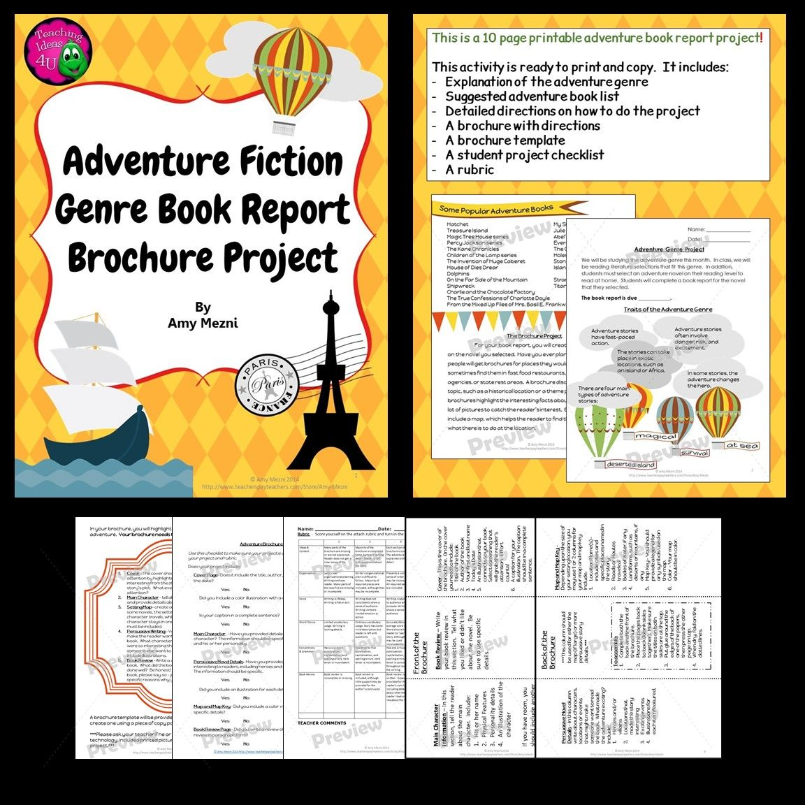 Printable Travel Brochure Template For Kids: Adventure Genre Brochure Book Report