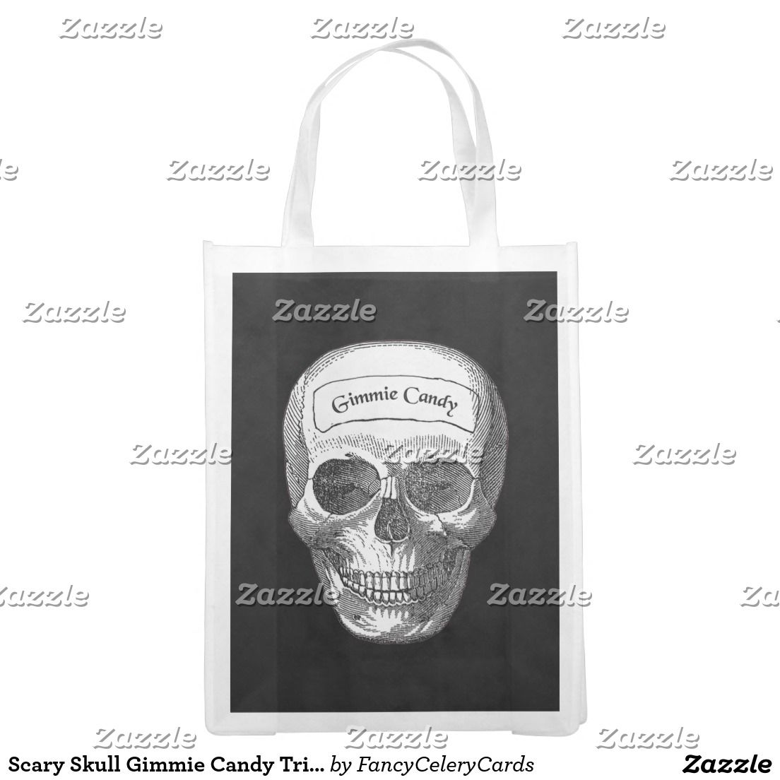 Scary Skull Gimmie Candy Trick Or Treat Bag Reusable Grocery Bags ...
