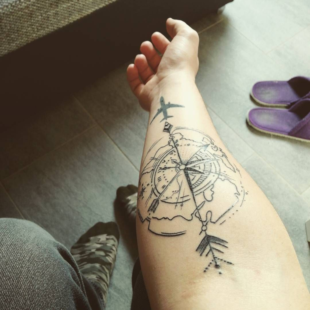 adventure tattoo in bold black lines travel tattoos pinterest adventure tattoo tattoo and. Black Bedroom Furniture Sets. Home Design Ideas