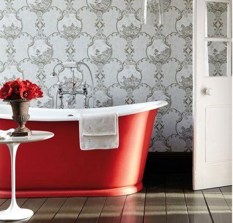 Contemporary Cast Iron Baths Bathroom Red Grey Home Decor