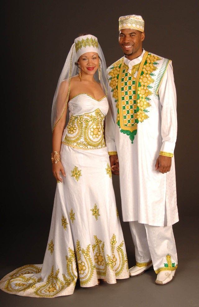 This couture embroidered and African-inspired wedding outfit for ...