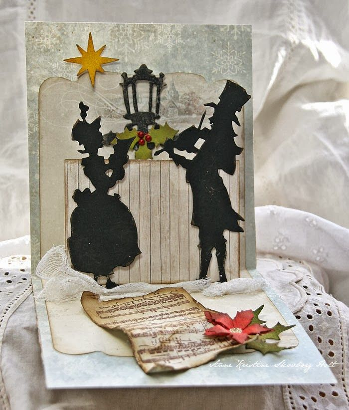 Victorian Christmas Carolers Decorations: Christmas Die Cut Card With Victorian Carolers...tutorial