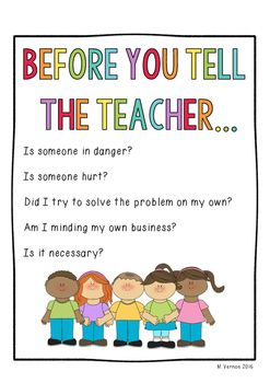 Free Before You Tell The Teacher Poster | Classroom | Pinterest ...