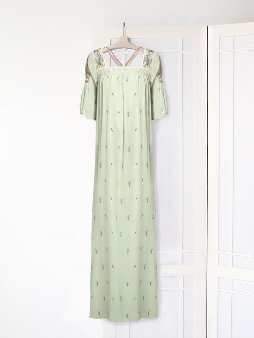 Floral Embroidered Silk Maxi Dress Clothes Dresses Short Sleeve Dresses