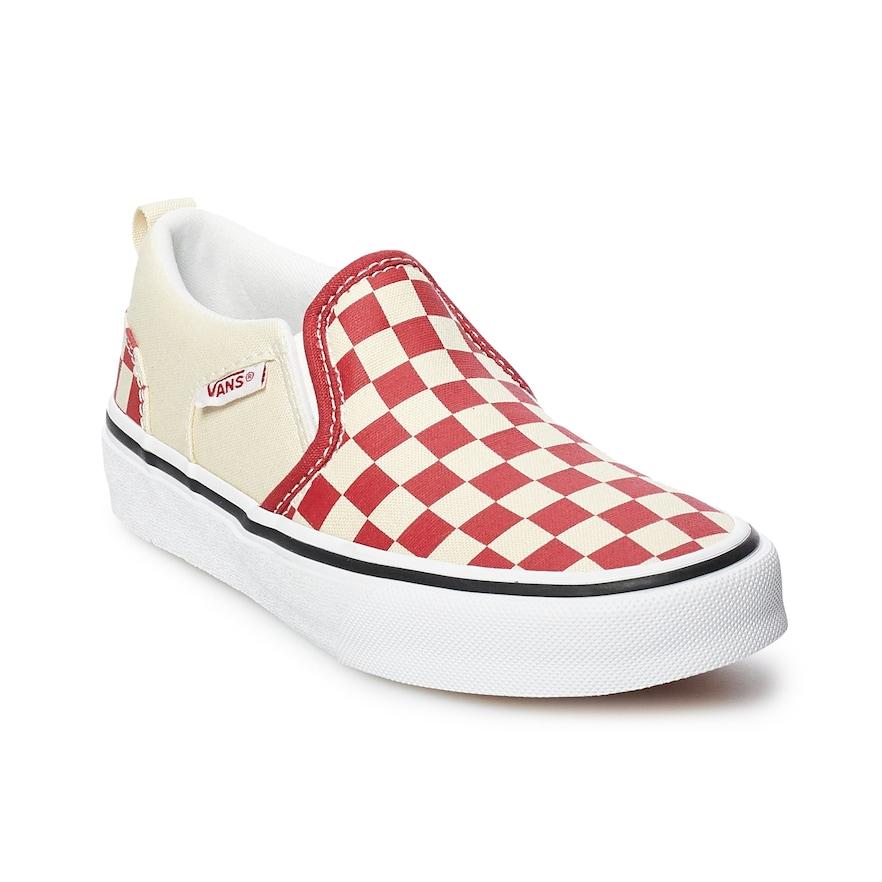 bcfb4eedcf747f Vans Asher Boys  Checker Slip On Skate Shoes