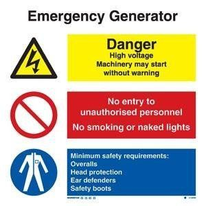 Marine Combination Sign: Emergency Generator Combination Sign
