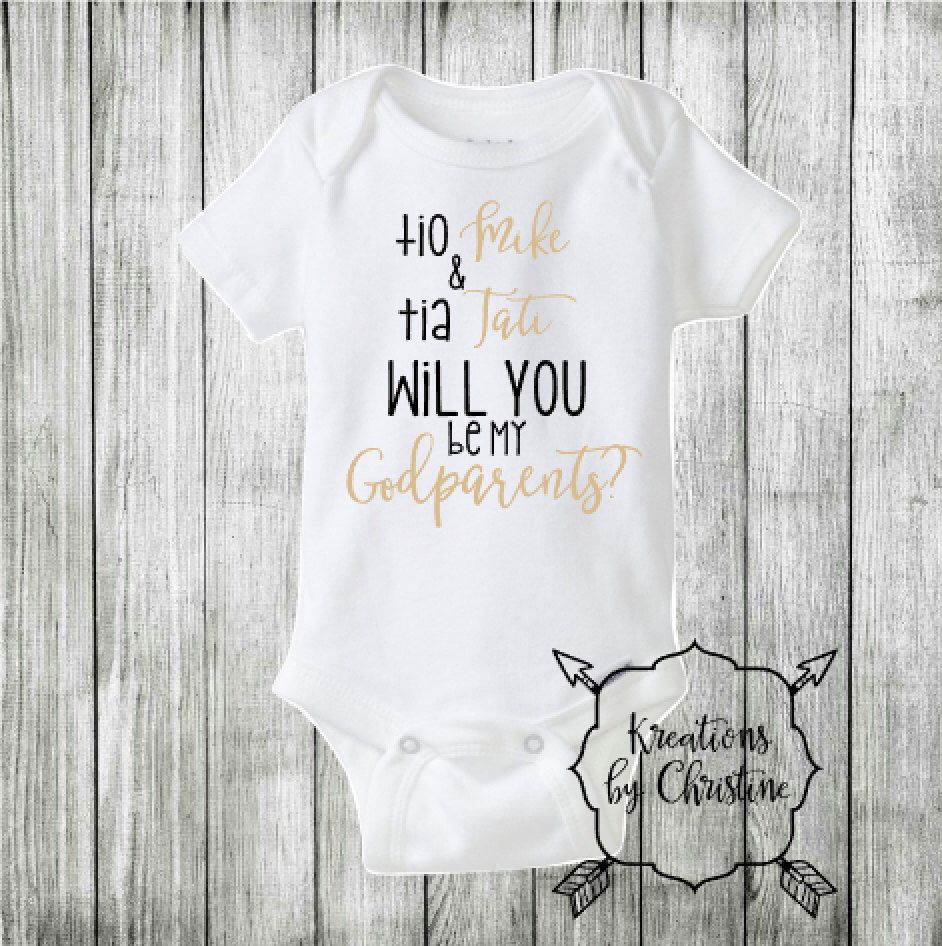 255009429 Will you be my godparents Outfit, godparents Bodysuit, nina and nino onesie,  will