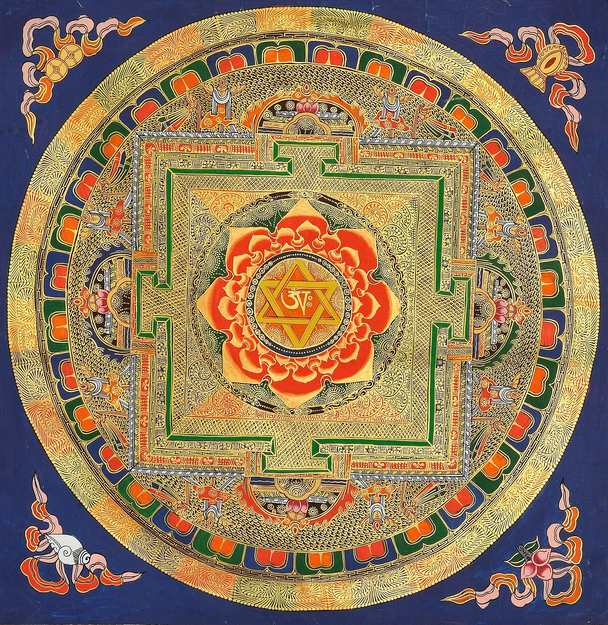Om Tantric Mandala with Lotus Fire | Color in 2019 | Mandala