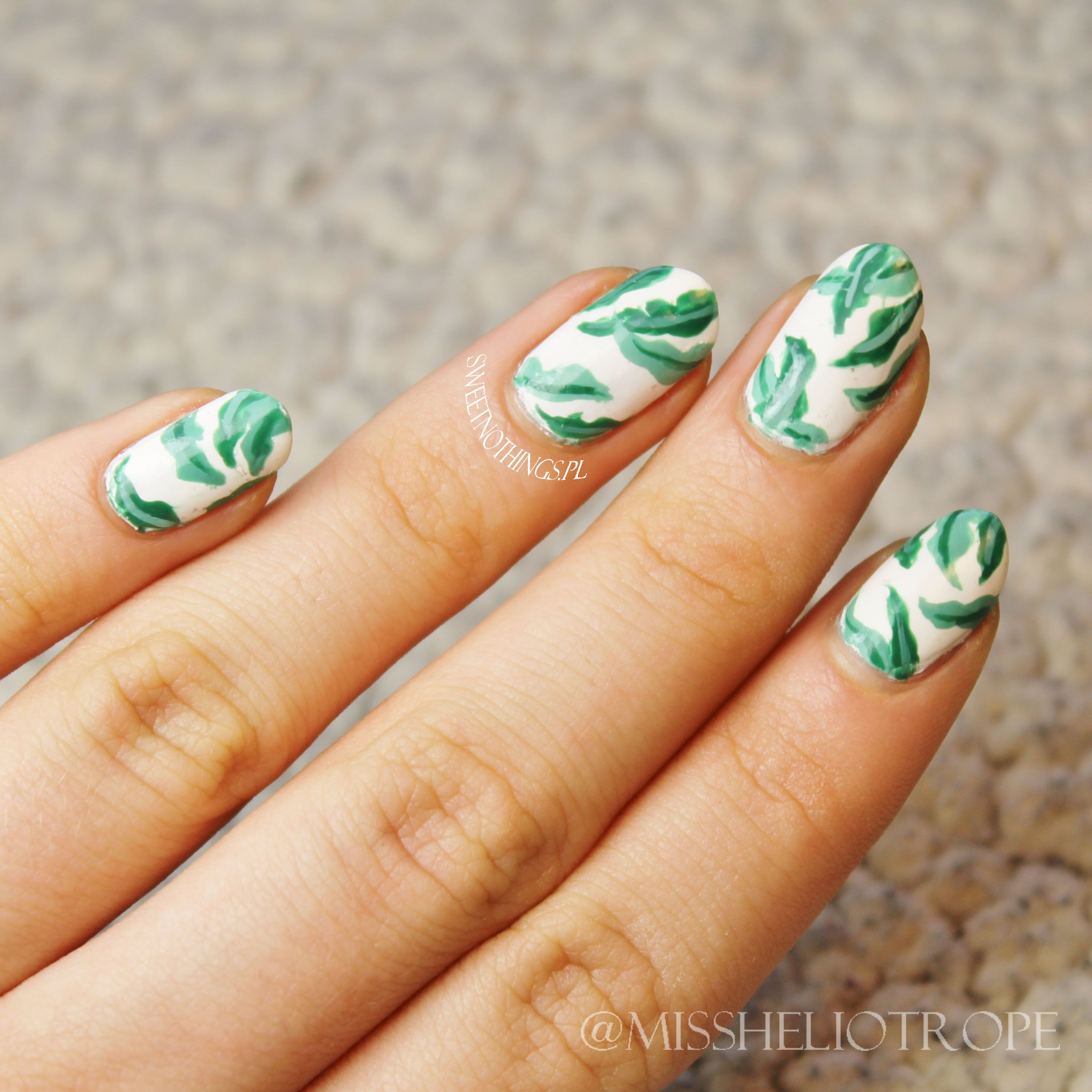 Palm Tree Leaves Nail Art Inspired By Shay Mitchell Sweet Nothings