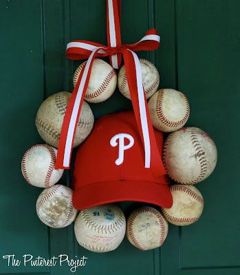 100 Baseball Party Ideas By A Professional Party Planner Baseball Wreaths Crafts Pinterest Projects