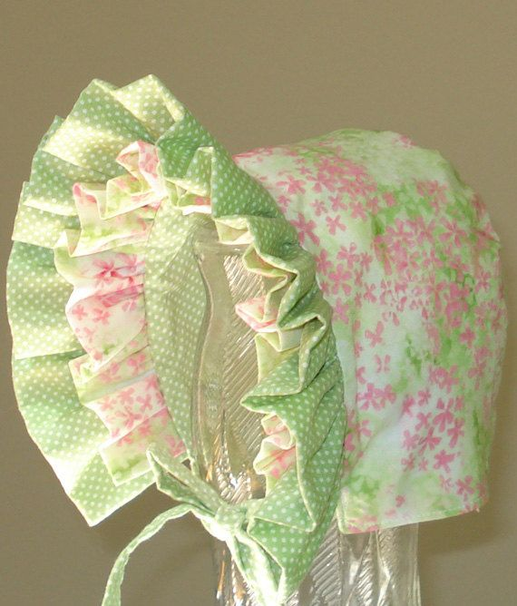 Baby Bonnet Spring MeadowFully Reversible by MaryandEllen on Etsy, $20.00