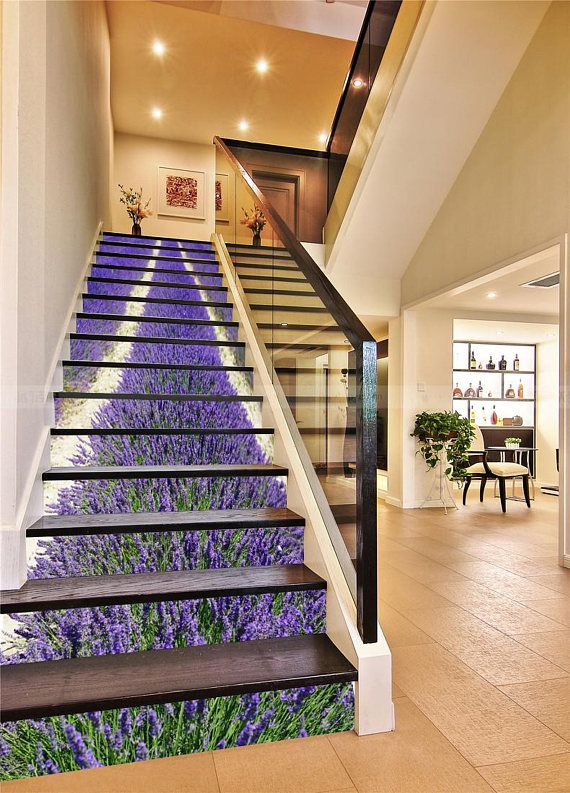 3d lavender field view 397 stairway stairs risers stickers - How to wallpaper stairs and landing ...