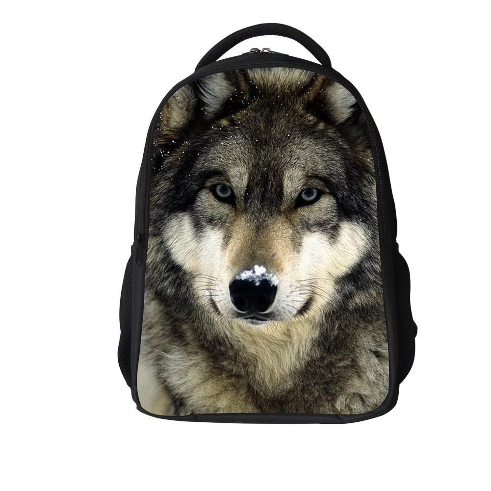 fd7ab3acc618 WECNSKY Kid s Cool Wolf Animal Printing School Bags (wolf gray ...