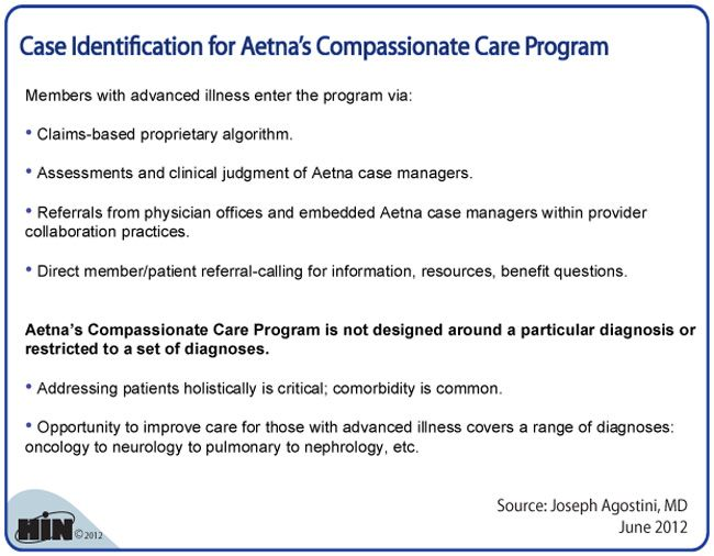 Case Identification For Aetna S Compassionate Care Program