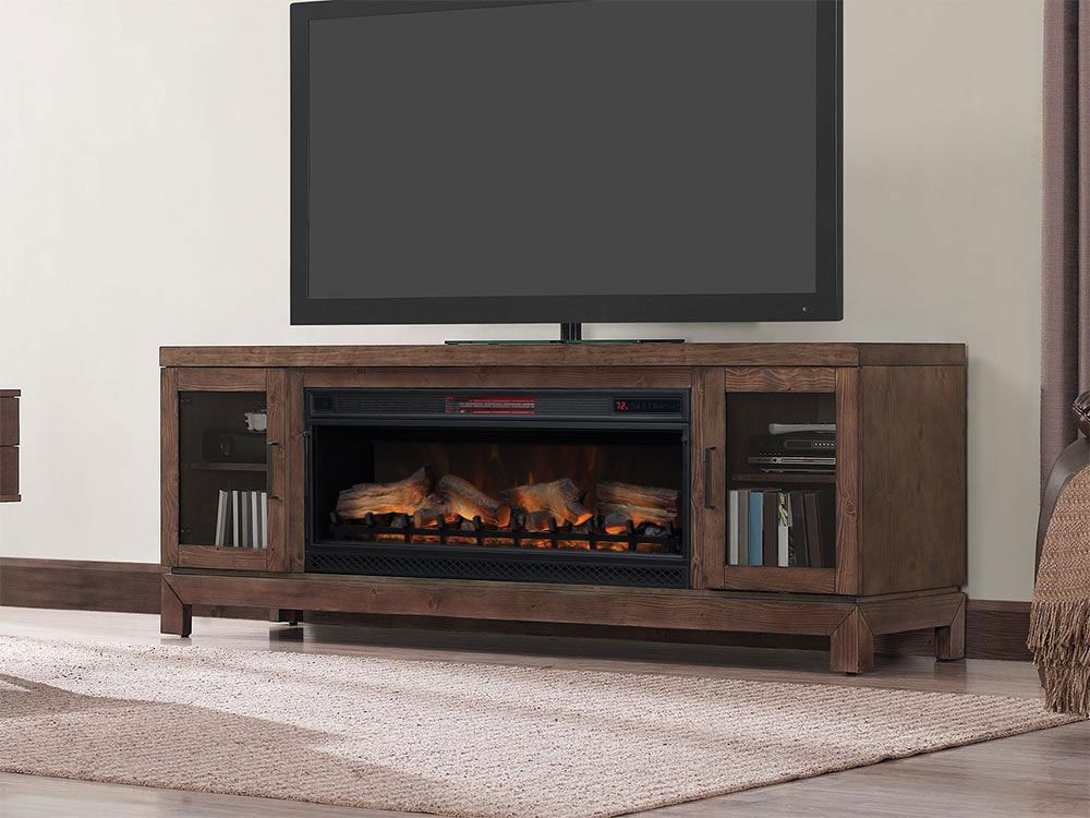Berkeley 76 In Infrared Electric Fireplace Tv Stand In Antique Coffee