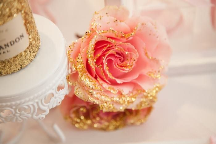 Hand-dipped gold glitter rose from a Pink Tutu Cute Themed Ballerina Baby Shower via Kara's Party Ideas | KarasPartyIdeas.com - The Place for All Things Party! (37)