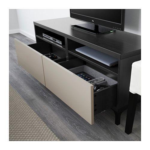BESTÅ Mueble TV+cajones - riel para cajón con cierre suave, negro ...