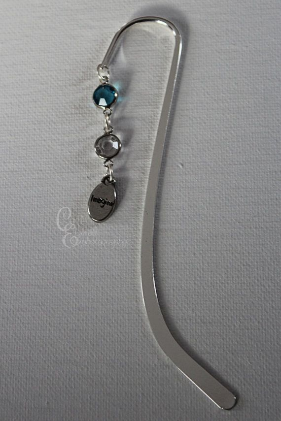 Beaded #Bookmark with blue gem pearl and an by CarriesCreativeChaos, $8.00 #etsy #imagine